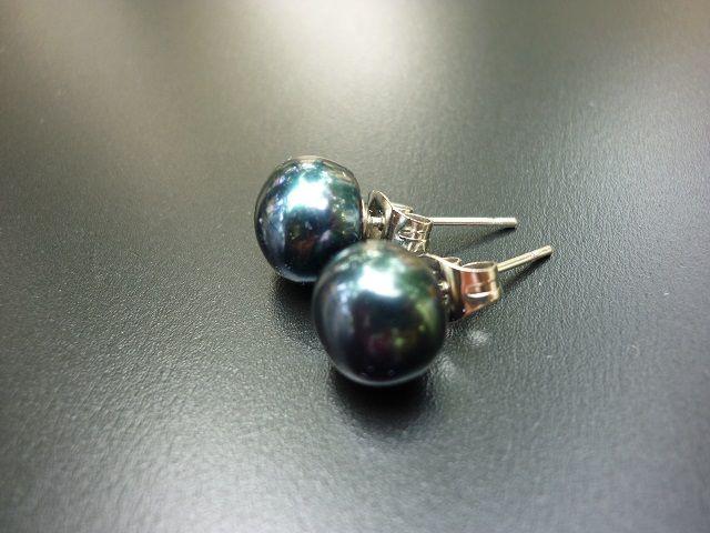 Říční perly černé náušnice