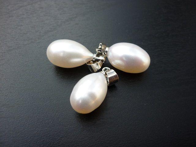 Říční perla bílá přívěsek