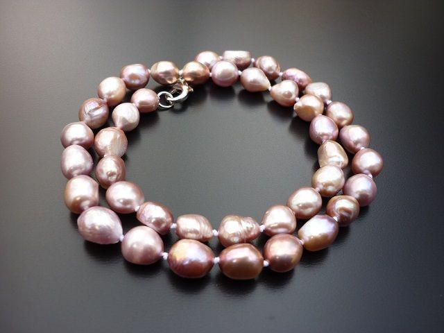 Říční perly tm. růžové náhrdelník