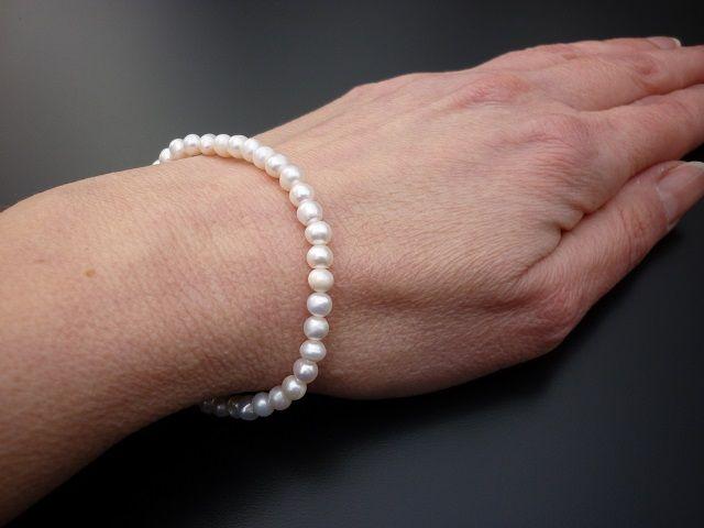 Říční perly bílé náramek 5 mm