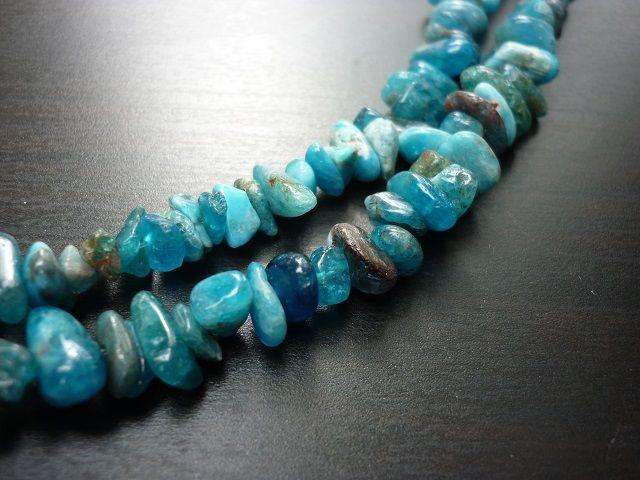 Apatit modrý náhrdelník dlouhý