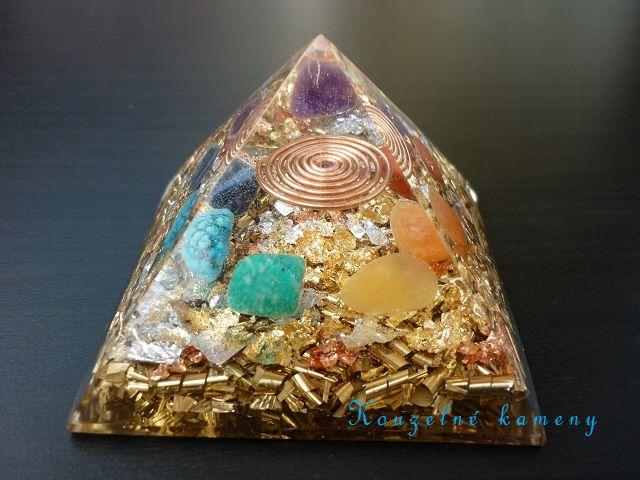 Orgonit pyramida 65 mm čakrová
