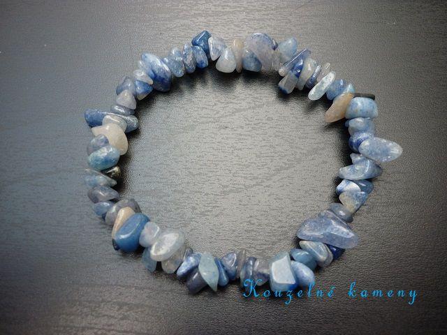 Křemen modrý náramek sekaný